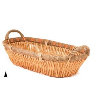 3/6063 OVAL WILLOW TRAY W/SEAGRASS RIM CS. PK.: 20