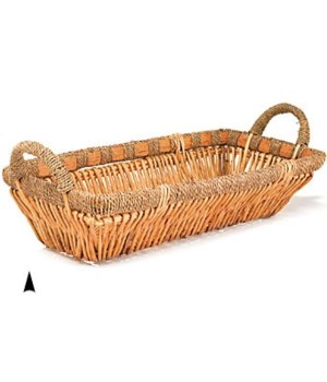 3/6064 OBLONG WILLOW TRAY W/SEAGRASS RIM CS. PK.: 20