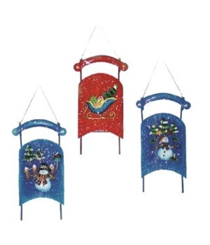 TIN SLEIGH ORNAMENT CS. PK.: 48