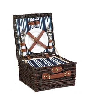 5/057B 2-PERSON WILLOW PICNIC BASKET CS. PK.: 8
