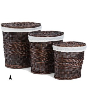 5/10-18 S/3 OVAL STAINED WILLOW HAMPERS CS. PK.: 1