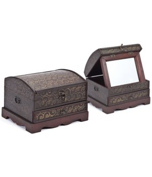 5/1036 WOOD BOX W/MIRROR CS. PK.: 12