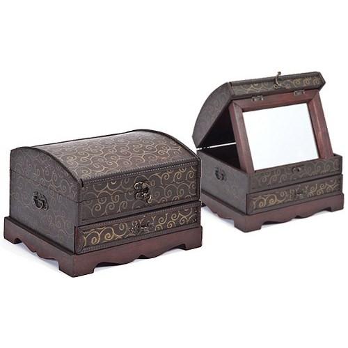 5/1036 WOOD BOX W/MIRROR CS. PK.: 12