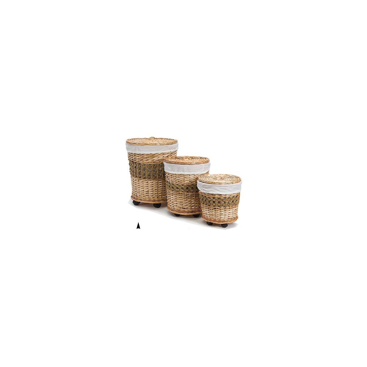 5/11-31 S/3 ROUND WILLOW HAMPERS ON CASTERS CS. PK.: 1