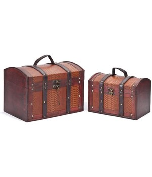 5/146 S/2 WOOD BOXES W/LEATHER DESIGN CS. PK.: 8