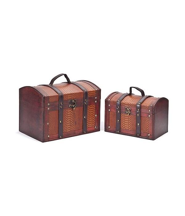 5/146 S/2 WOOD BOXES W/LEATHER DESIGN CS. PK.: 8