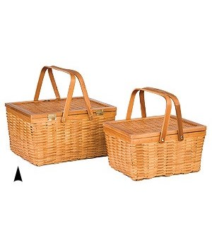 5/239 S/2 WOOD PICNIC BASKETS CS. PK.: 8