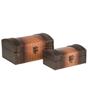 5/3079 S/2 BASKET WEAVE WOOD BOXES CS. PK.: 12