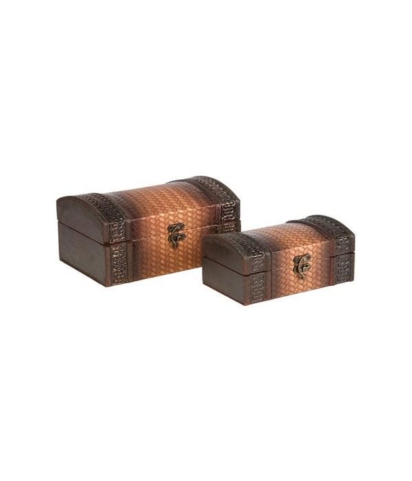 5/3079 S/2 BASKET WEAVE WOOD BOXES CS. PK.: 12