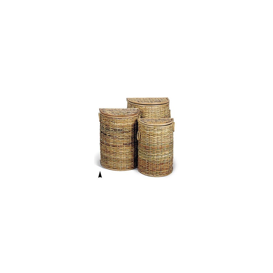 5/385H S/3 HALF-ROUND HONEY RATTAN HAMPERS CS. PK.: 1