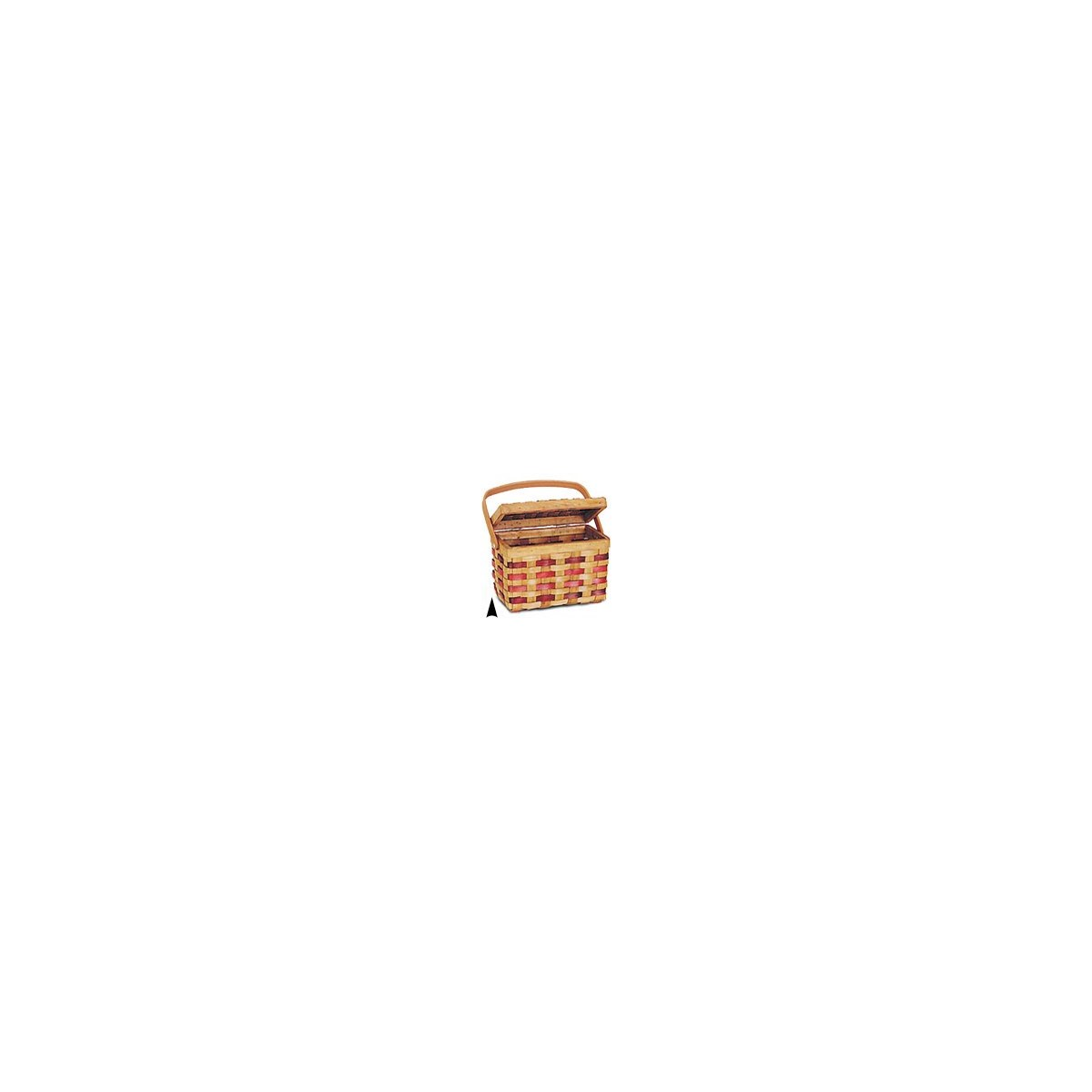5/425 WOOD PICNIC BASKET W/BURGANDY STRIPES CS. PK.: 24