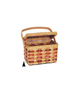 5/425 WOOD PICNIC BASKET W/BURGANDY STRIPES CS. PK.: 24