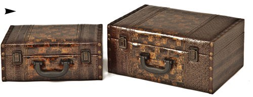5/81131 S/2 WOOD BOXES W/LEATHER DESIGN CS. PK.: 8