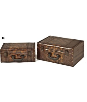 5/81131 S/2 WOOD BOXES W/LEATHER DESIGN CS. PK.: 8