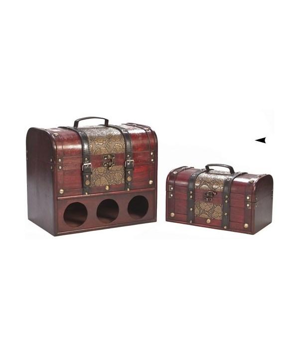 5/9033 S/2 WOOD BOXES FOR 3 BOTTLES CS. PK.:4