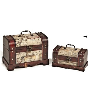 5/998110 S/2 WOOD BOXES W/MAP DESIGN CS. PK.: 6