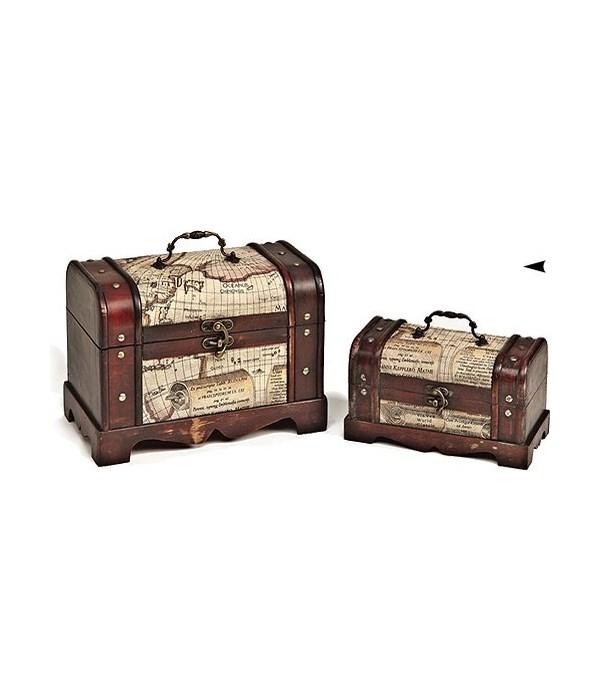 5/998110 S/2 WOOD BOXES W/MAP DESIGN CS. PK.: 6