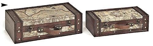 5/998117 S/2 WOOD BOXES W/MAP DESIGN CS. PK.: 8