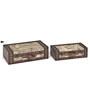 5/998117 S/2 WOOD BOXES W/MAP DESIGN CS. PK.: 8