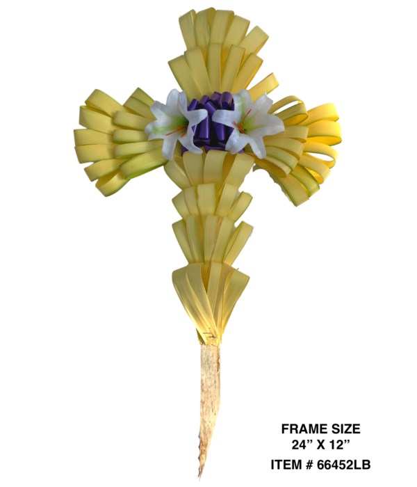 PALM CROSS: 6 X 6 FINGER LOOPS + 4 X 5 FINGER LOOPS + 2 X LILIES AND A BOW CS. PK.: 30