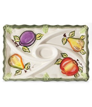7/10342/B CERAMIC 5-SECTION OBLONG TRAY CS. PK.: