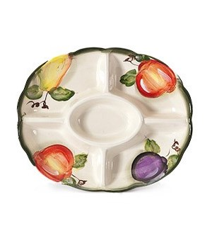 7/10361/B CERAMIC 5-SECTION OVAL TRAY CS. PK.: