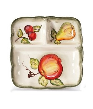 7/10367/B CERAMIC 3-SECTION SQUARE TRAY CS. PK.: