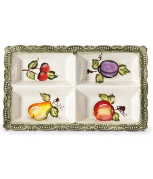 7/10863/B CERAMIC 4-SECTION OBLONG TRAY CS. PK.: