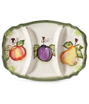 7/10868/B CERAMIC 3-SECTION OVAL TRAY CS. PK.: