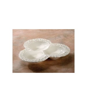 7/6120 3-SECTION LACEY CERAMIC PLATTER CS. PK.: 12