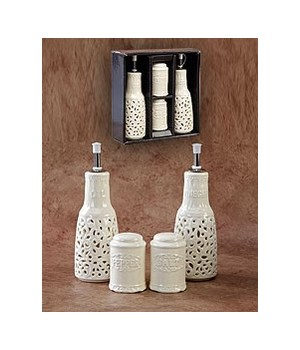 """700116 LACY CERAMIC GIFT PACK (SLAT & PEPPER, OIL & VINEGAR) CS. PK.: 24"""