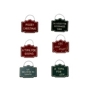6 ASST CHRISTMAS TIN SIGN CS. PK.: 72