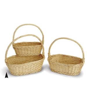 9/063 S/3 OVAL WILLOW BASKETS CS. PK.: 20