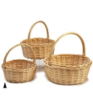 9/4135N S/3 ROUND WILLOW BASKETS CS. PK.: 8