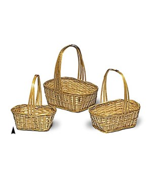 9/741 S/3 OBLONG BAMBOO BASKETS W/LINERS CS. PK.: 24