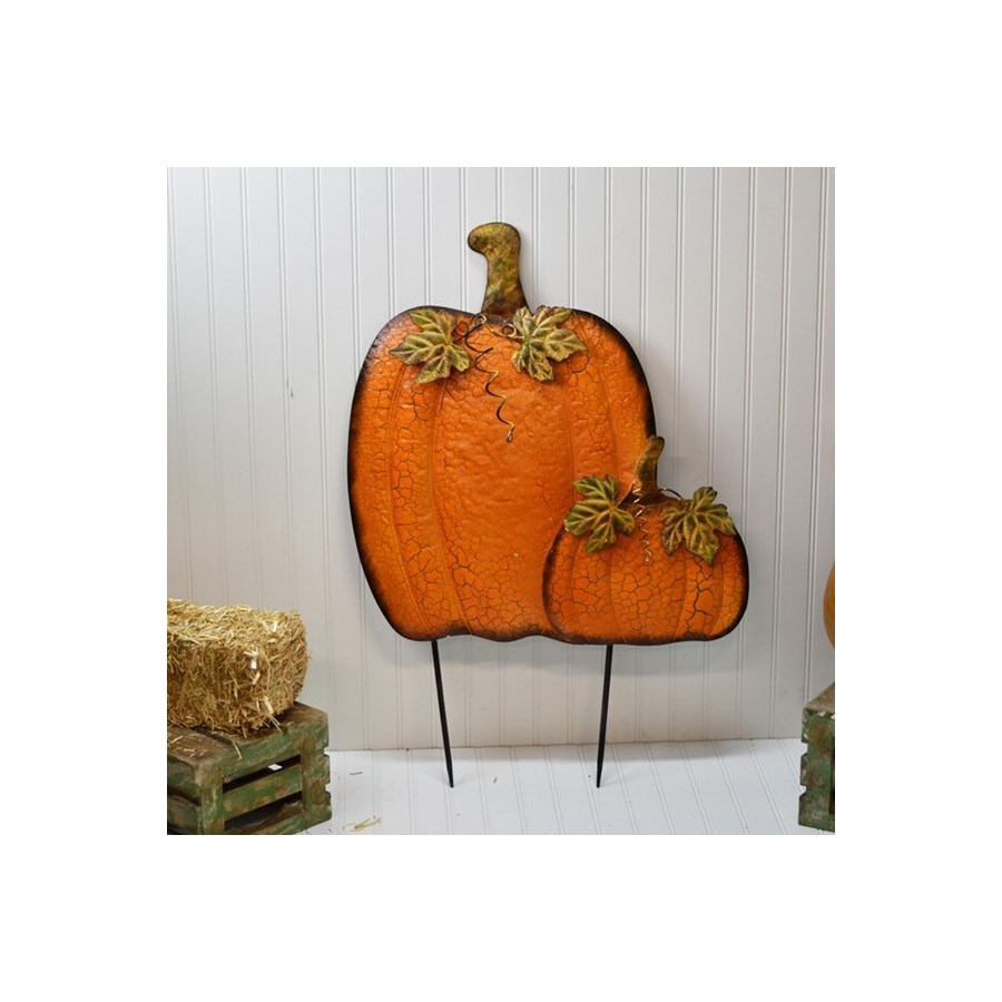 DOUBLE TIN PUMPKIN YARD ART CS. PK.: 6