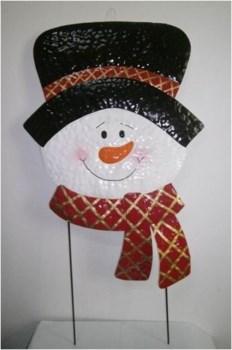 TIN SNOWMAN W/ HAT AND SCARF YARD ART CS. PK.: 6