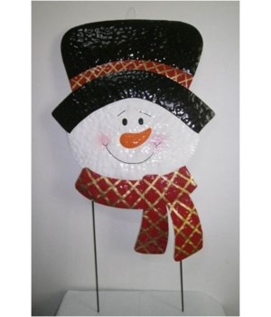 TIN SNOWMAN W/ HAT AND SCARF YARD ART CS. PK.: 6