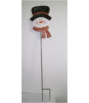 TIN SNOWMAN W/ HAT STAKE CS. PK.: 12