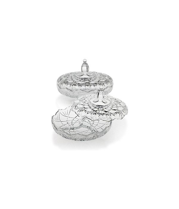 TL-025 ROUND GLASS CANDY DISH W/COVER CS. PK.: 8