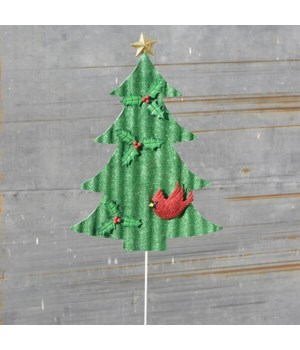 TIN GLITTER TREE STAKE CS. PK.: 12