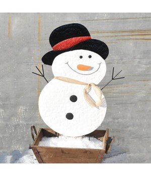 TIN GLITTER SNOWMAN YARD ART CS. PK.: 12