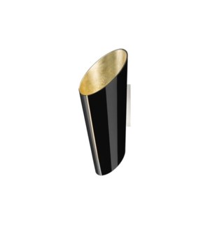Madeira  Wall Sconce in Black/Gold Leaf