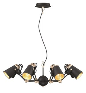 Edward Chandelier in Black/Brass