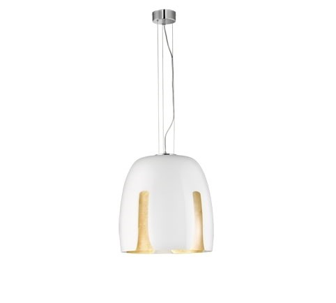 Madeira Large Pendant in White/Gold Leaf