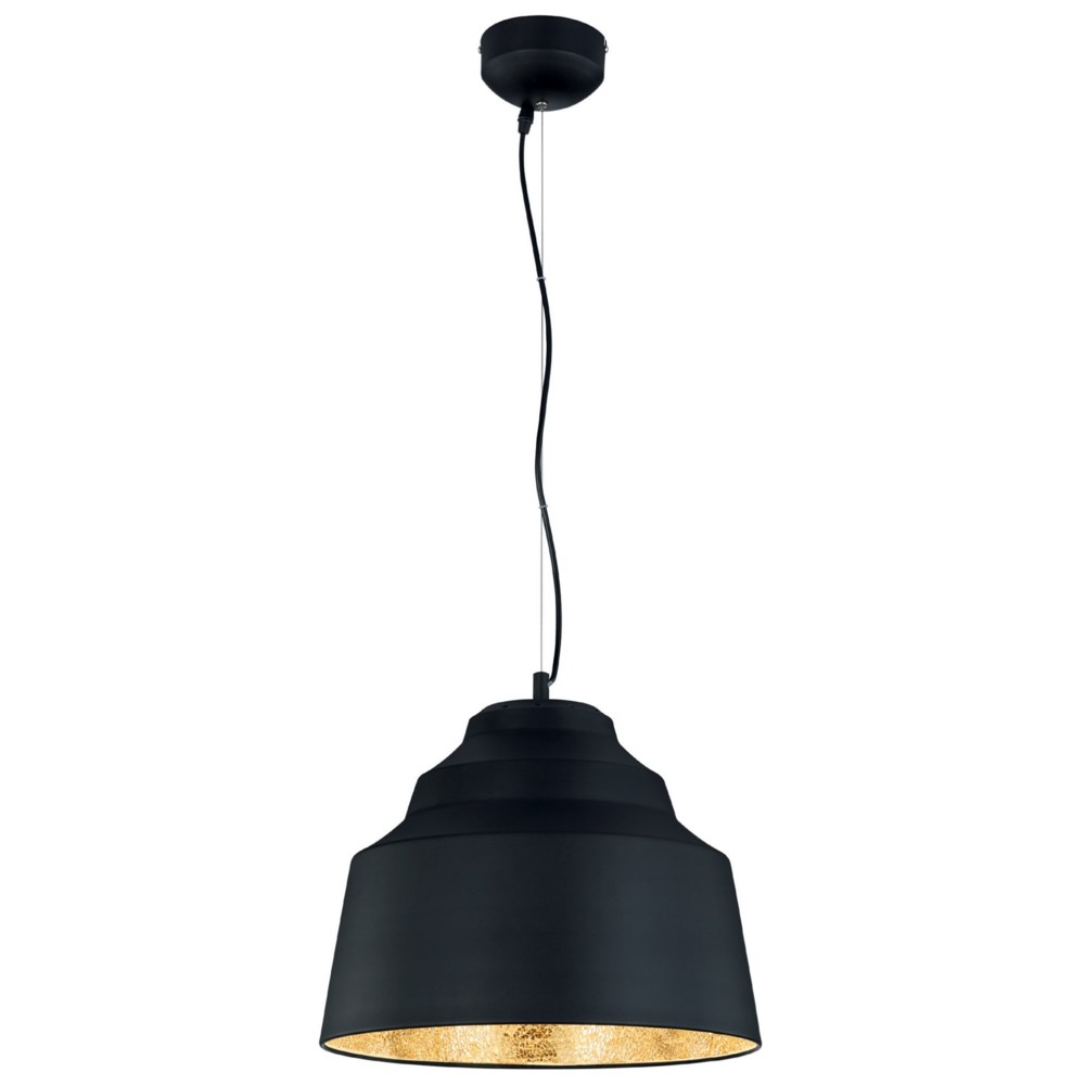 Naples Pendant in Black with Cracked Glass