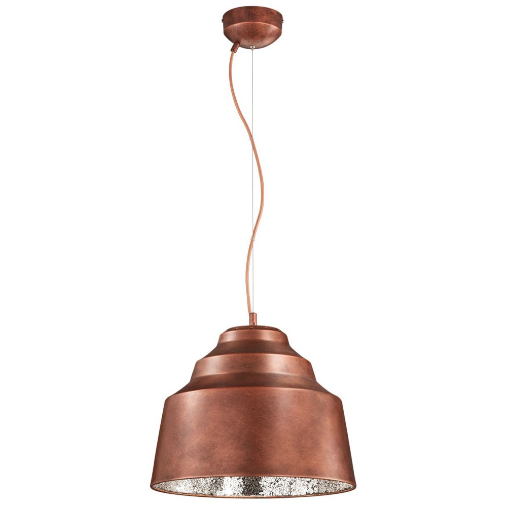 Naples Pendant in Copper with Cracked Glass