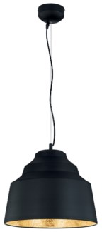 Palermo Pendant in Black with Painted Gold Finish