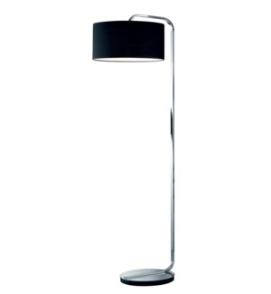 Cannes Floor Lamp in Chrome with Black Shade