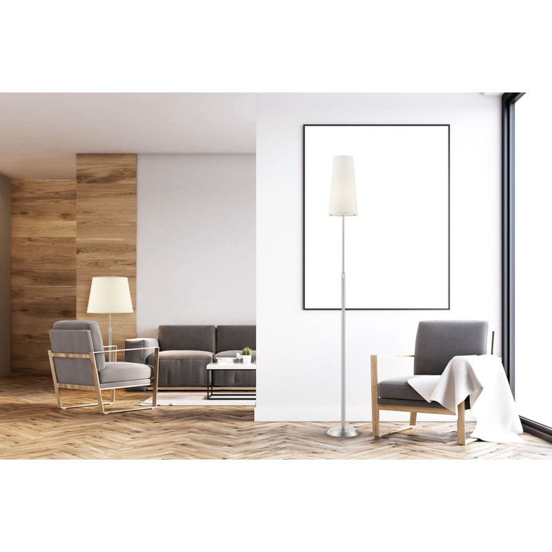 Attendorn Floor Lamp with Narrow Shade in Satin Nickel ...